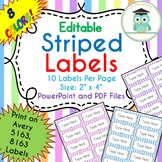 Striped Labels Editable Classroom Notebook Folder Name Tag (PASTELS, Avery 5163)