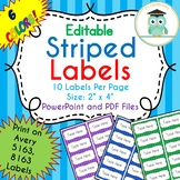 Striped Labels Editable Classroom Notebook Folder (Rainbow, Avery 5163, 8163)