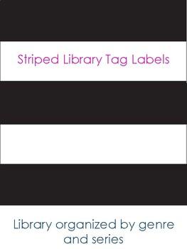 Striped Library Book Bin Tags