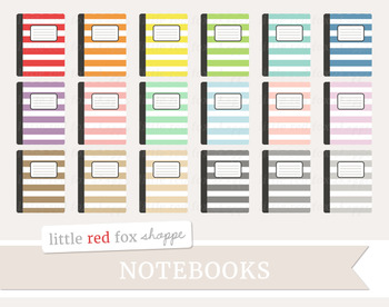 Striped Notebook Clipart; Journal, Planner, Diary, Book