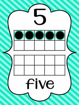 Striped Number Posters {0-20} With Number, Tens Frame & Number Word