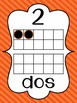 Striped Number Posters in Spanish {0-20} With Number, Tens Frame & Number Word