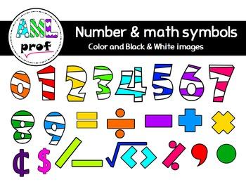 Striped Numbers & Math symbols clipart(Chiffres rayés & symboles maths)