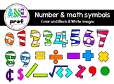 Striped Numbers & Math symbols clipart(Chiffres rayés & sy