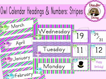 Owl Calendar Headings and Numbers: Stripes