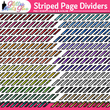Striped Page Dividers Clip Art | Rainbow Glitter Borders for Worksheets