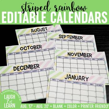 Editable Calendars {Striped Rainbow}