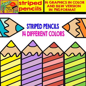 Striped Pencils - Cliparts in 14 Different Colors