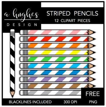 FREE Striped Pencils Clipart {A Hughes Design}