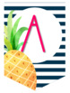 Striped Pineapple Banner {Navy Background}