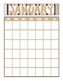Striped Printable Yearly Calendar