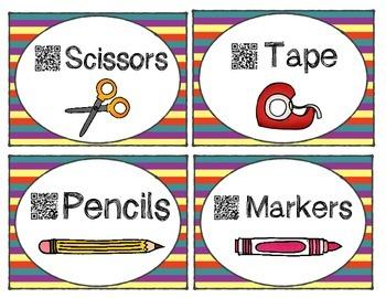 Striped QR Code Classroom Labels