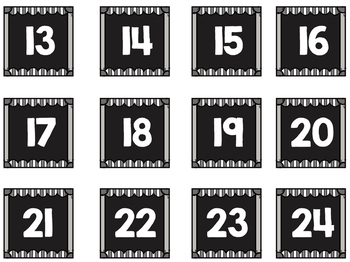 Striped Scalloped Calendar Numbers in Gray!
