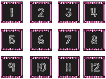 Striped Scalloped Calendar Numbers in Pink!
