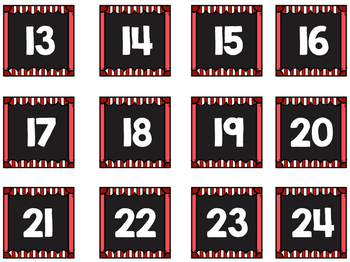 Striped Scalloped Calendar Numbers in Primary Colors!