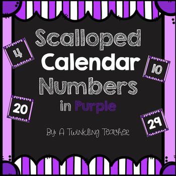 Striped Scalloped Calendar Numbers in Purple!