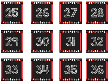 Striped Scalloped Calendar Numbers in Red!