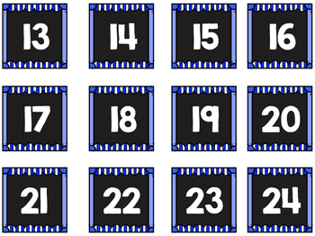 Striped Scalloped Calendar Numbers in Royal Blue!