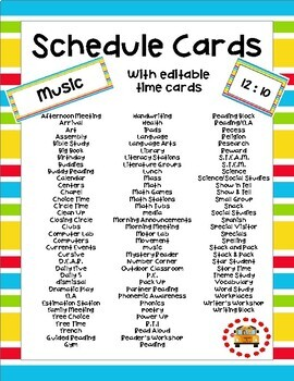 Striped Schedule Cards with Time Cards