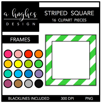Square Striped Frames Clipart {A Hughes Design}