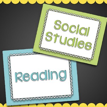 Subject Posters (Striped) & Editable Classroom Labels