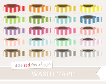 Striped Tape Clipart; Washi, Office Supplies