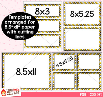 Striped Task Card Templates Clip Art