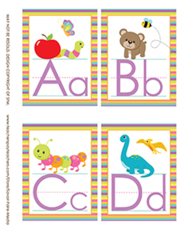 Striped Theme Alphabet Wall Letters A-Z Uppercase/Lowercase w/Graphics - 3 SIZES