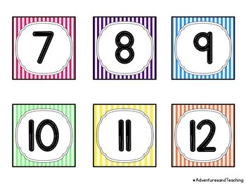Striped Themed Calendar Numbers