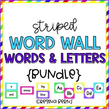 Striped Word Wall Letters & Dolch Words BUNDLE!