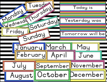 Striped calendar headers - days of the week and months of the year