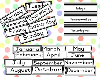 Striped calendar headers - days of the week and months of the year (B&W)