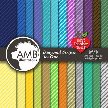 Digital Papers - Striped pattern digital paper and backgrounds, AMB-339