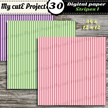 Stripes 1 -DIGITAL PAPER - Instant Download - Scrapbooking - A4 & 12x12""