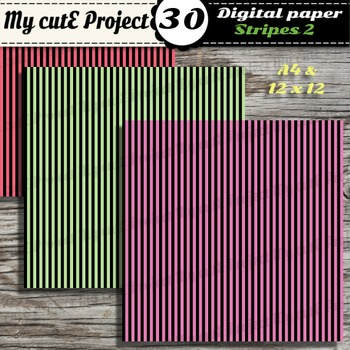 "Stripes 2 -DIGITAL PAPER - Instant Download - Scrapbooking - A4 & 12x12"""