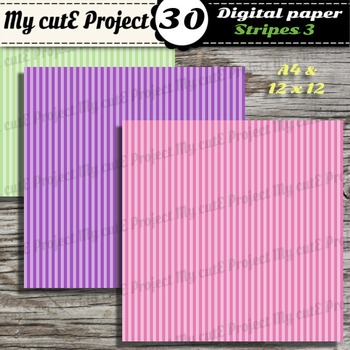 Stripes 3 -DIGITAL PAPER - Instant Download - Scrapbooking - A4 & 12x12""