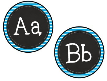 Stripes & Chalkboard ABC Labels for Word Walls & Classrooms