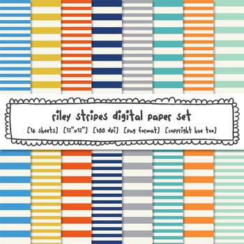 Stripes Digital Paper, Blue, Orange, Yellow, Gray Striped Digital Backgrounds