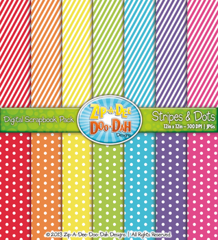 Stripes & Dots Digital Scrapbook Pack — Bright Rainbow (14 Pages)