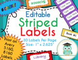 Striped Labels Editable Classroom Folder Notebook Name Tags (Avery 5160, 8160)