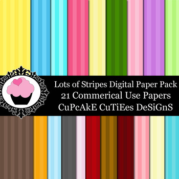 Stripes Lot of Striped Paper Digital Paper Pack  8.5 x 11JPEG Set