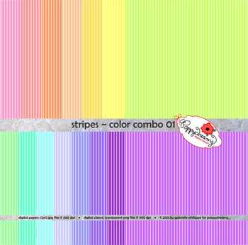 Stripes Pastels Digital Paper by Poppydreamz