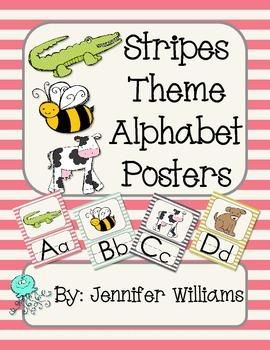 Stripes Theme Alphabet Posters