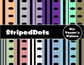 Digital Paper Striped Dots with Matching File Folder Tabs