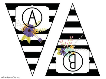 Stripes and Flowers Alphabet Pennant