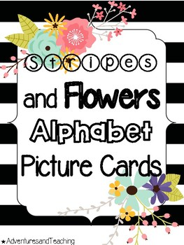 Stripes and Flowers Alphabet Picture Cards