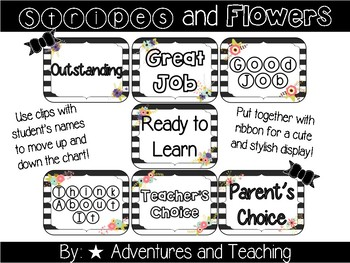 Stripes and Flowers Behavior Chart