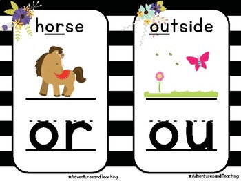 Stripes and Flowers Blends and Digraphs Posters