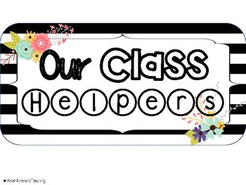 Stripes and Flowers Classroom Jobs / Helpers Cards {66 different jobs}