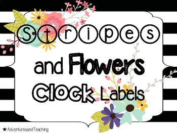 Stripes and Flowers Clock Labels